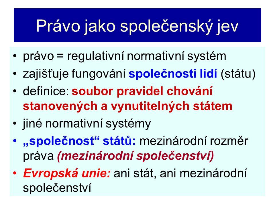 Právo jako společenský jev právo = regulativní normativní systém zajišťuje fungování společnosti lidí (státu) definice: soubor pravidel chování stanov