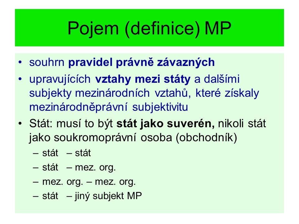 Pojem (definice) MP souhrn pravidel právně závazných upravujících vztahy mezi státy a dalšími subjekty mezinárodních vztahů, které získaly mezinárodně