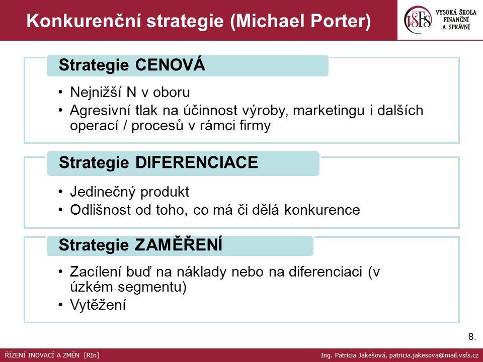 Nejnižší N v oboru Agresivní tlak na účinnost výroby, marketingu i dalších operací / procesů v rámci firmy Strategie CENOVÁ Jedinečný produkt Odlišnos