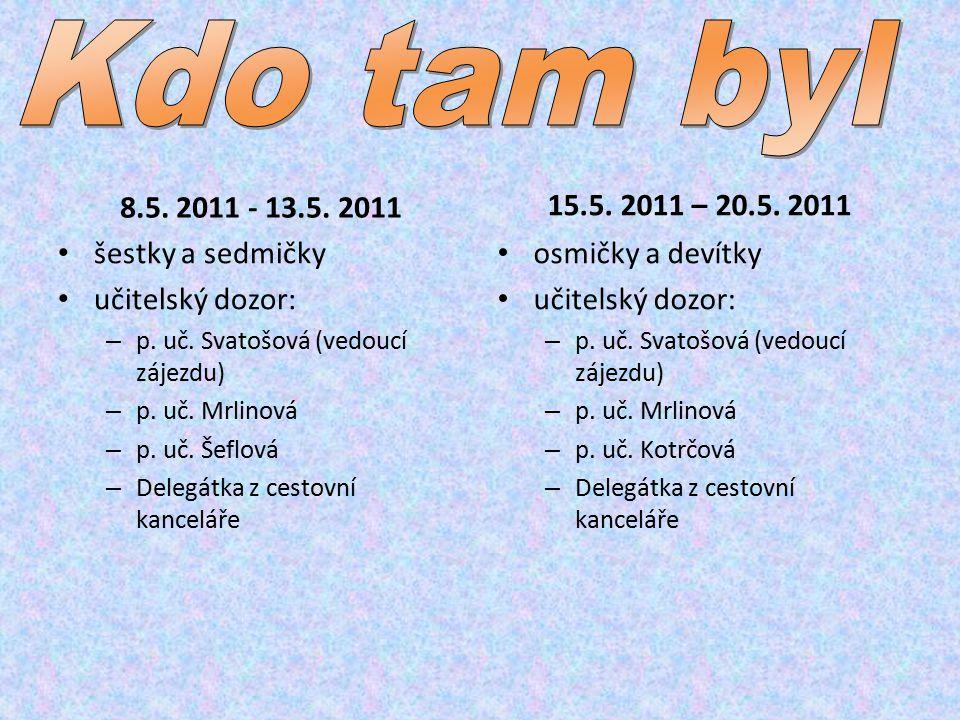 8.5. 2011 - 13.5. 2011 šestky a sedmičky učitelský dozor: – p.