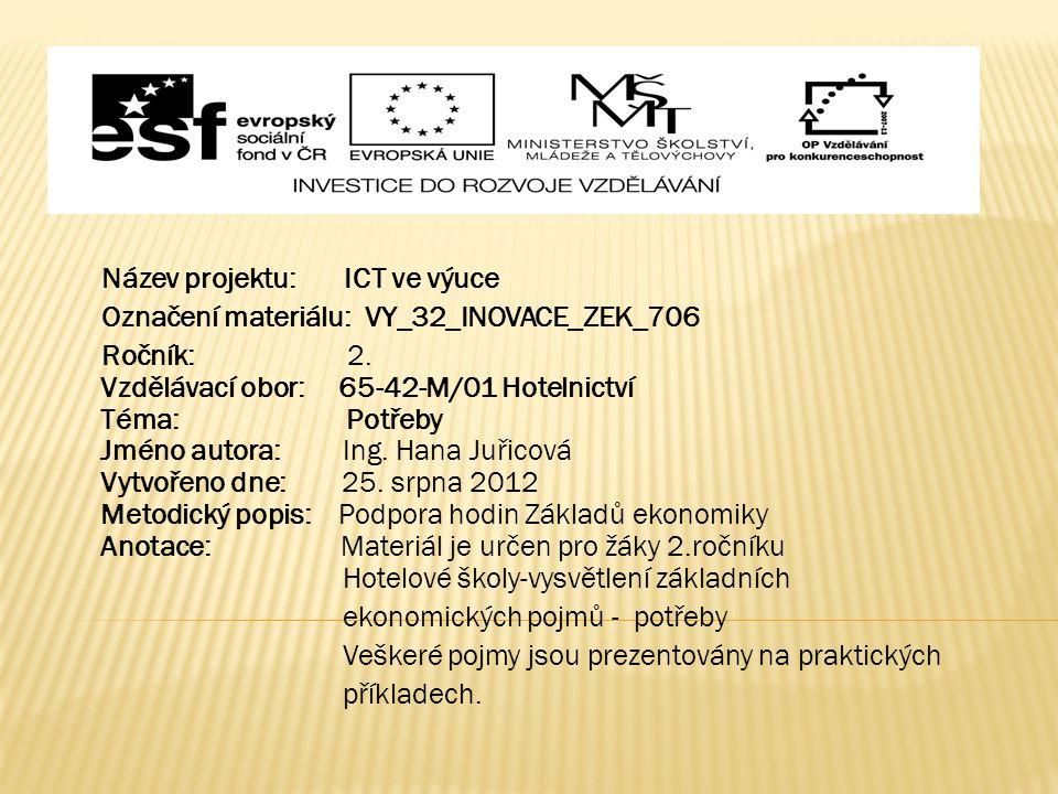 Název projektu: ICT ve výuce Označení materiálu: VY_32_INOVACE_ZEK_706 Ročník: 2. Vzdělávací obor: 65-42-M/01 Hotelnictví Téma: Potřeby Jméno autora: