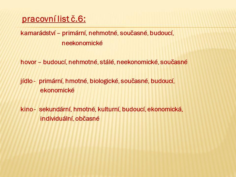 pracovní list č.6: kamarádství – primární, nehmotné, současné, budoucí, neekonomické hovor – budoucí, nehmotné, stálé, neekonomické, současné jídlo -