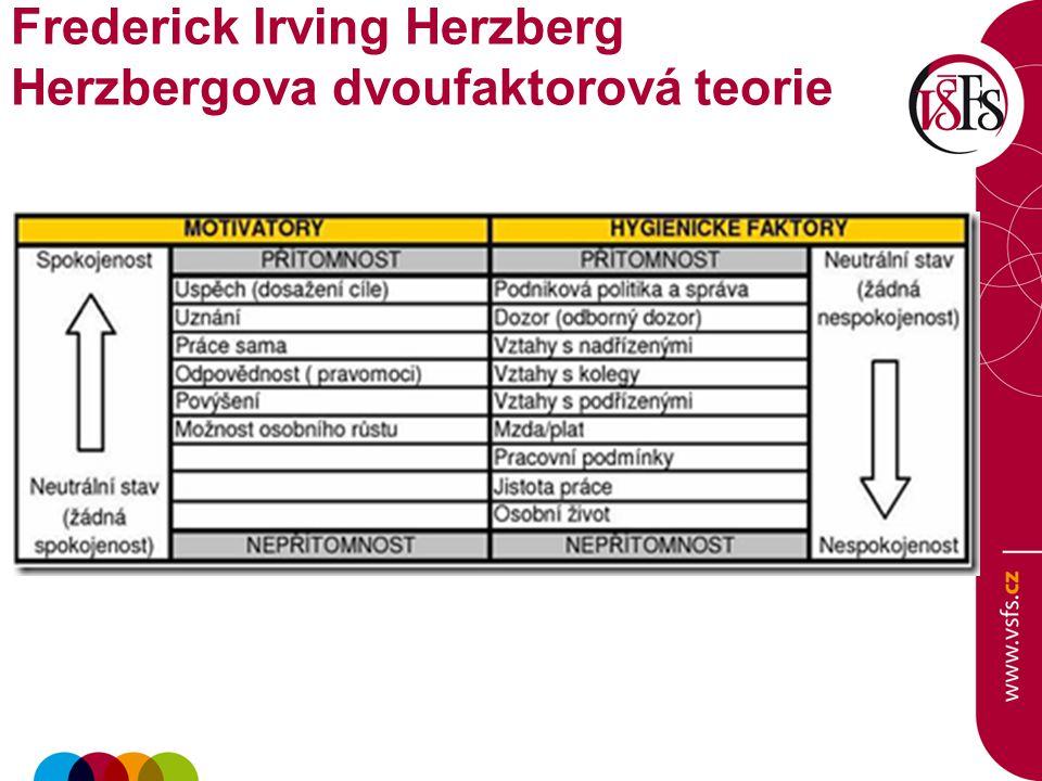 Frederick Irving Herzberg Herzbergova dvoufaktorová teorie
