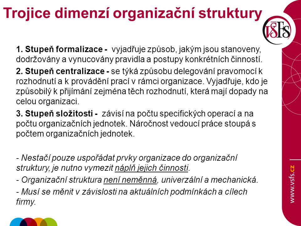 1. Stupeň formalizace - vyjadřuje způsob, jakým jsou stanoveny, dodržovány a vynucovány pravidla a postupy konkrétních činností. 2. Stupeň centralizac