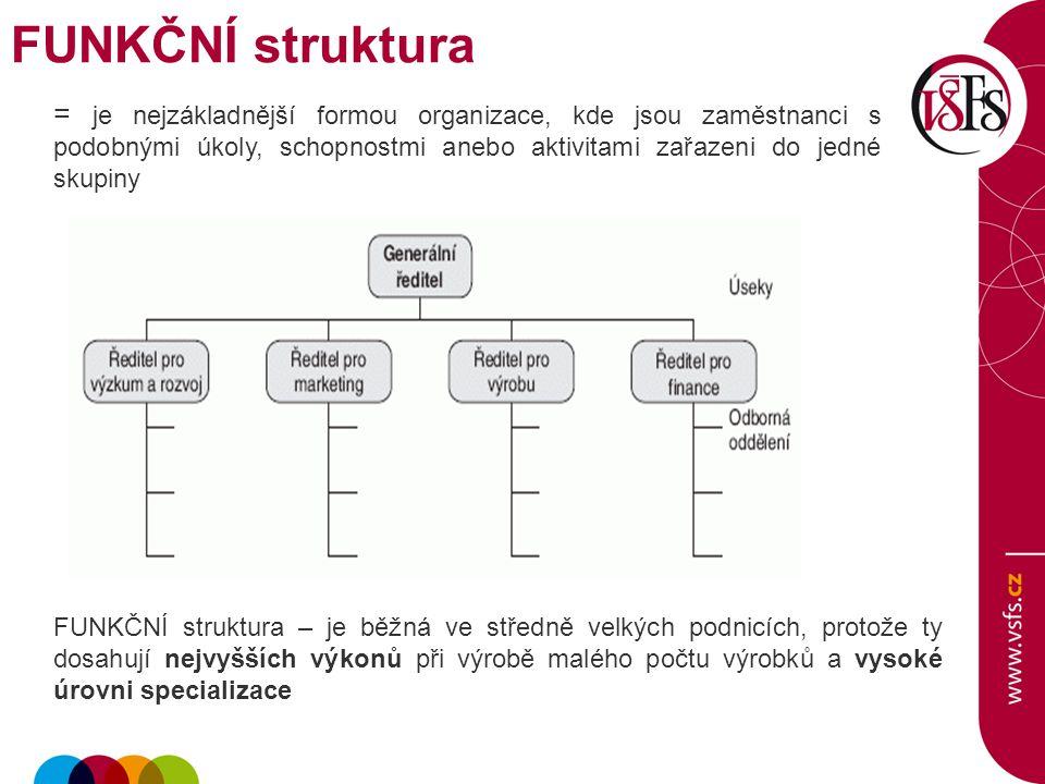 FUNKČNÍ struktura = je nejzákladnější formou organizace, kde jsou zaměstnanci s podobnými úkoly, schopnostmi anebo aktivitami zařazeni do jedné skupin