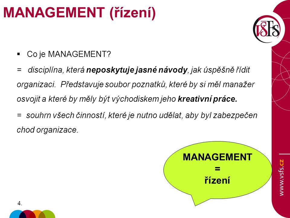 4.4.  Co je MANAGEMENT? = disciplína, která neposkytuje jasné návody, jak úspěšně řídit organizaci. Představuje soubor poznatků, které by si měl mana