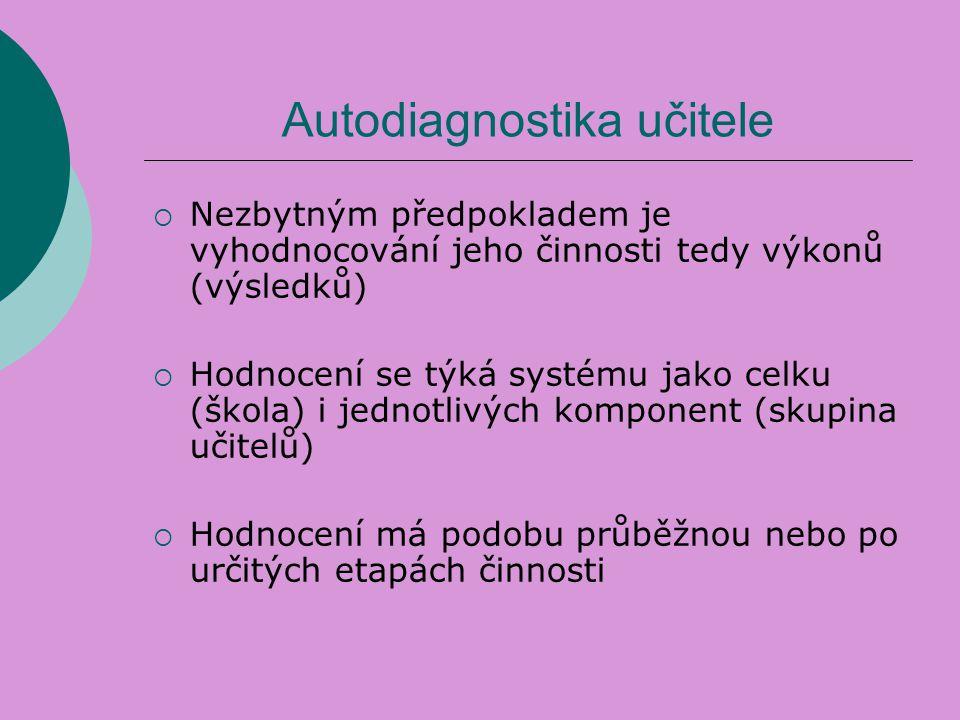 Autodiagnostika učitele  Nezbytným předpokladem je vyhodnocování jeho činnosti tedy výkonů (výsledků)  Hodnocení se týká systému jako celku (škola)