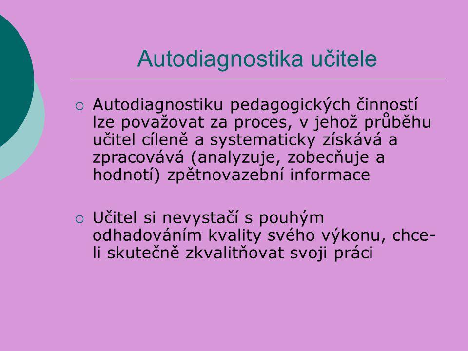 Autodiagnostika učitele  Autodiagnostiku pedagogických činností lze považovat za proces, v jehož průběhu učitel cíleně a systematicky získává a zprac