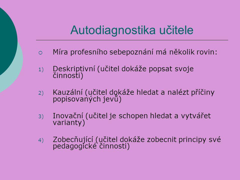 Autodiagnostika učitele  Míra profesního sebepoznání má několik rovin: 1) Deskriptivní (učitel dokáže popsat svoje činnosti) 2) Kauzální (učitel doká