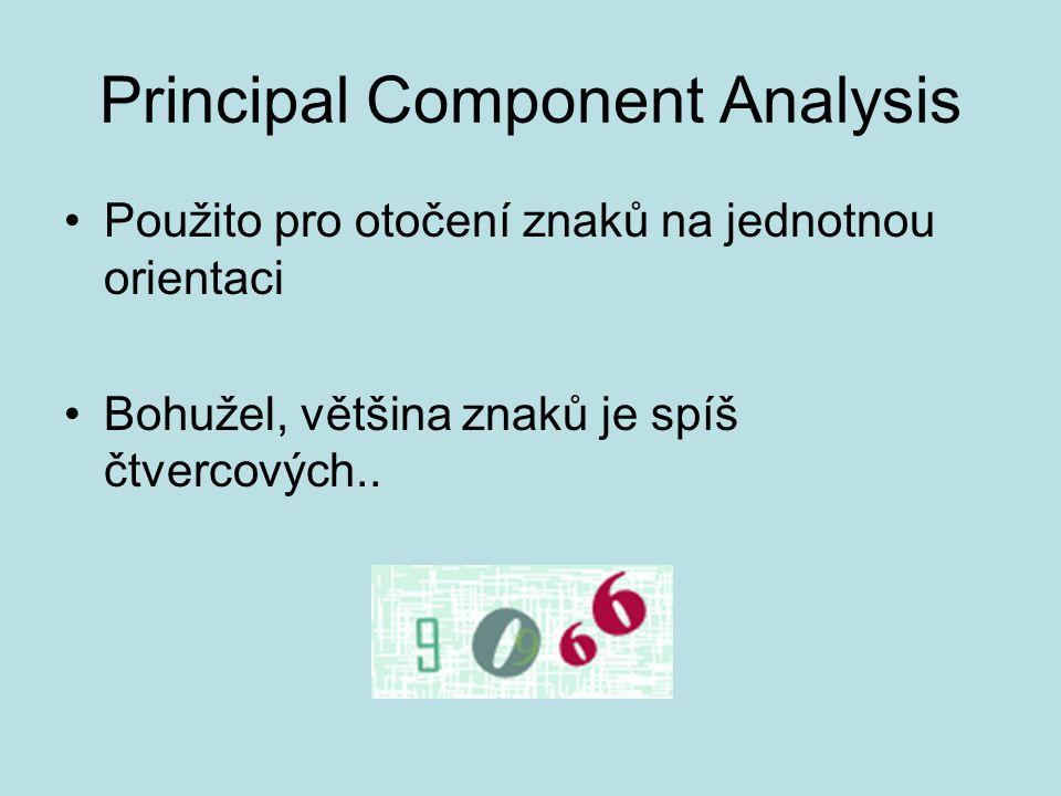 Principal Component Analysis Použito pro otočení znaků na jednotnou orientaci Bohužel, většina znaků je spíš čtvercových..