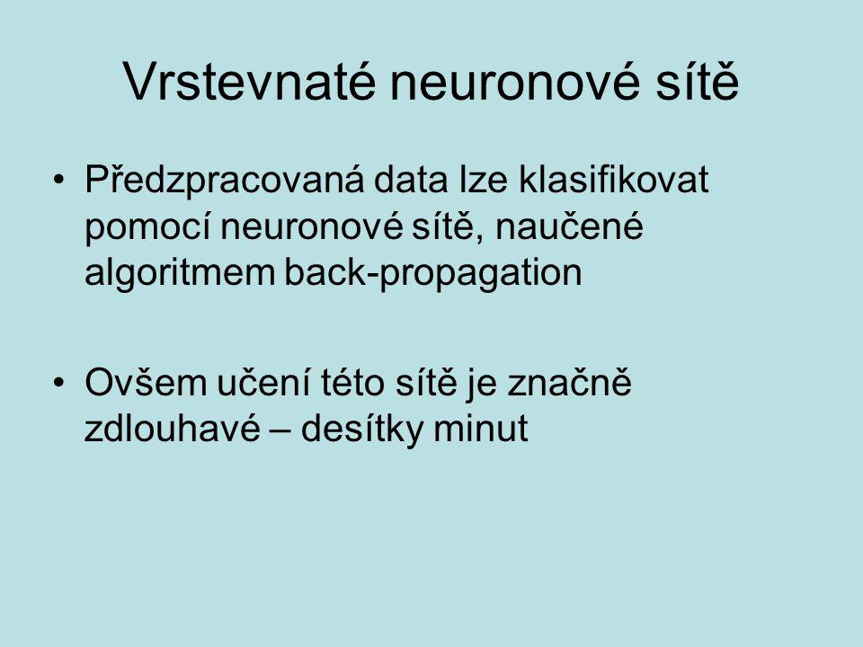 Vrstevnaté neuronové sítě Předzpracovaná data lze klasifikovat pomocí neuronové sítě, naučené algoritmem back-propagation Ovšem učení této sítě je značně zdlouhavé – desítky minut