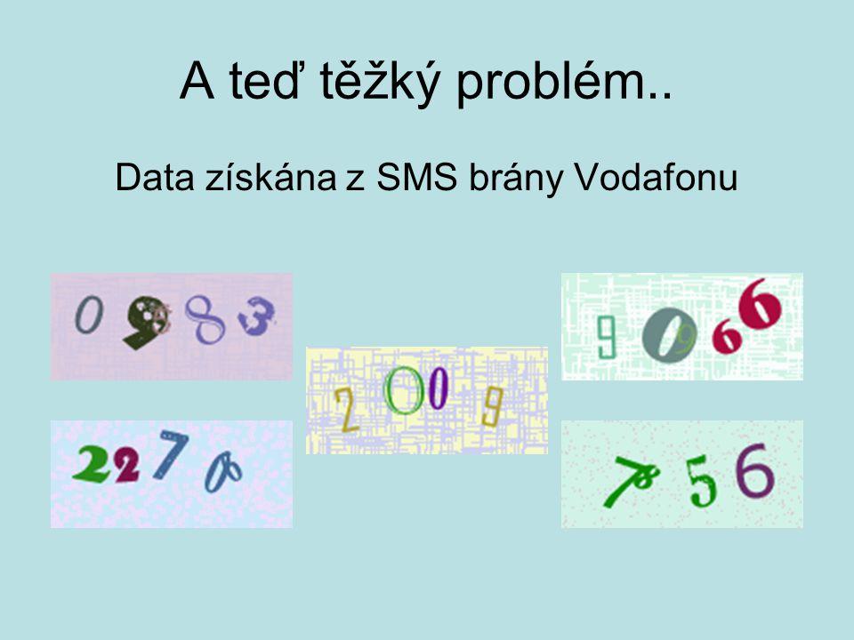 A teď těžký problém.. Data získána z SMS brány Vodafonu
