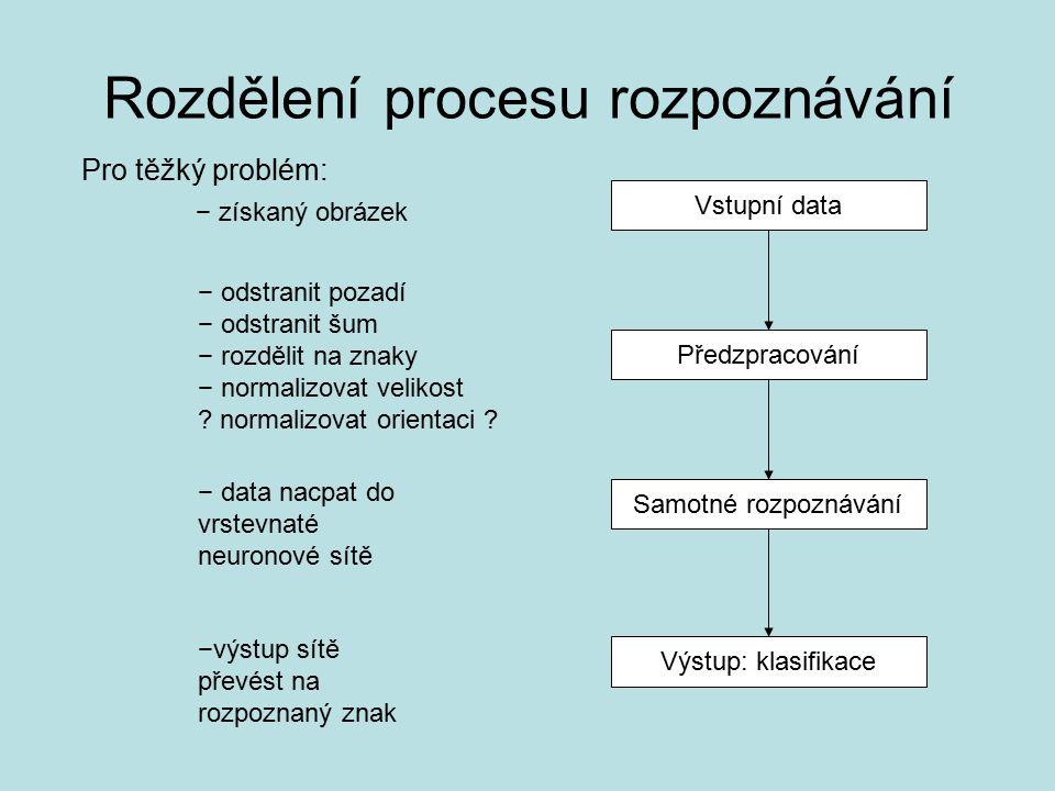 Vstupní data Předzpracování Samotné rozpoznávání Výstup: klasifikace Rozdělení procesu rozpoznávání Pro těžký problém: − získaný obrázek − odstranit pozadí − odstranit šum − rozdělit na znaky − normalizovat velikost .