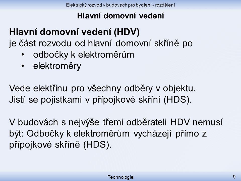 Elektrický rozvod v budovách pro bydlení - rozdělení Technologie 9 Hlavní domovní vedení (HDV) je část rozvodu od hlavní domovní skříně po odbočky k e