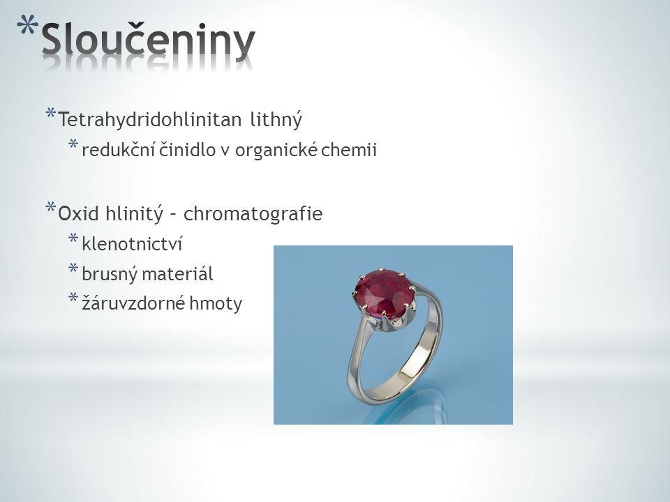 * Tetrahydridohlinitan lithný * redukční činidlo v organické chemii * Oxid hlinitý – chromatografie * klenotnictví * brusný materiál * žáruvzdorné hmo