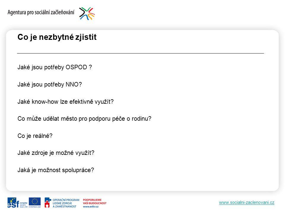 www.socialni-zaclenovani.cz Co je nezbytné zjistit Jaké jsou potřeby OSPOD .