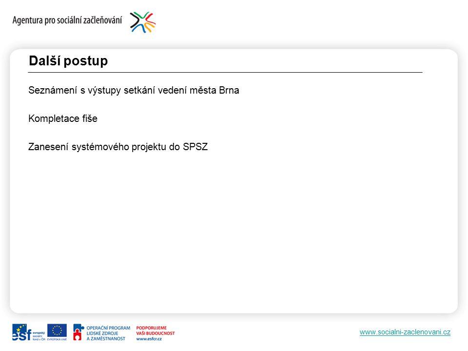 www.socialni-zaclenovani.cz Další postup Seznámení s výstupy setkání vedení města Brna Kompletace fiše Zanesení systémového projektu do SPSZ