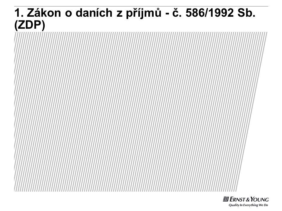 1. Zákon o daních z příjmů - č. 586/1992 Sb. (ZDP)