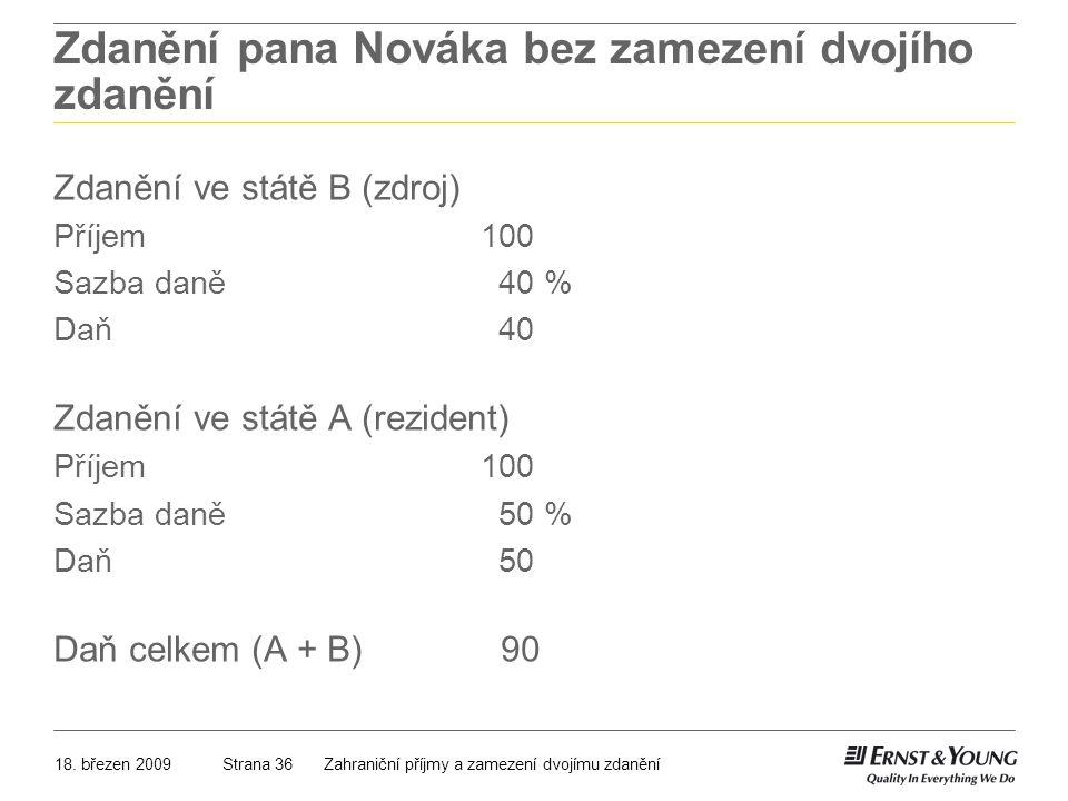 18. březen 2009Zahraniční příjmy a zamezení dvojímu zdaněníStrana 36 Zdanění pana Nováka bez zamezení dvojího zdanění Zdanění ve státě B (zdroj) Příje