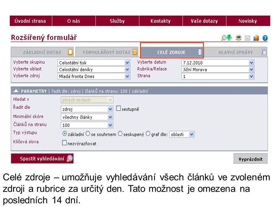 Celé zdroje – umožňuje vyhledávání všech článků ve zvoleném zdroji a rubrice za určitý den.