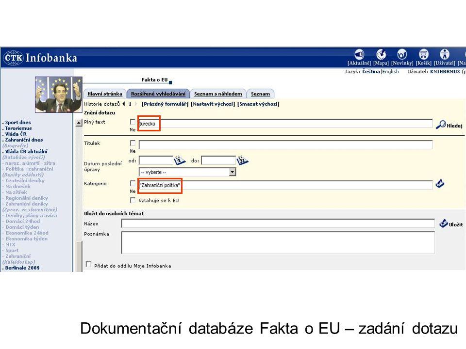 Dokumentační databáze Fakta o EU – zadání dotazu