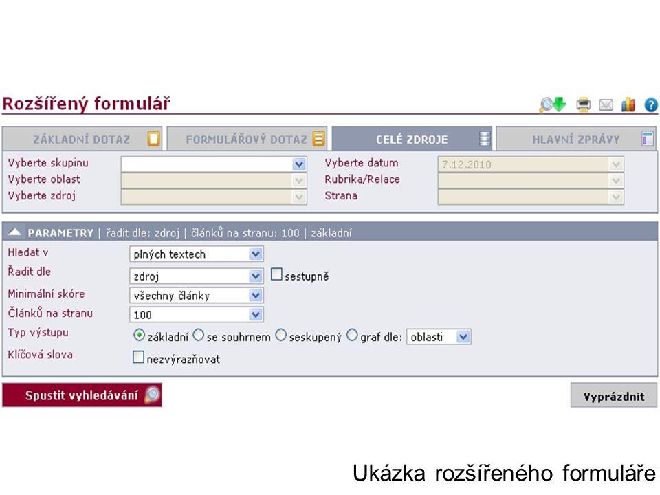 Ukázka rozšířeného formuláře