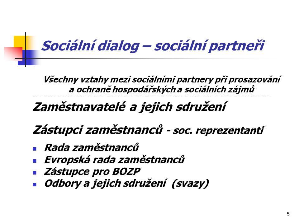 5 Sociální dialog – sociální partneři Všechny vztahy mezi sociálními partnery při prosazování a ochraně hospodářských a sociálních zájmů --------------------------------------------------------------------------------------------------------------------------------------- Zaměstnavatelé a jejich sdružení Zástupci zaměstnanců - soc.
