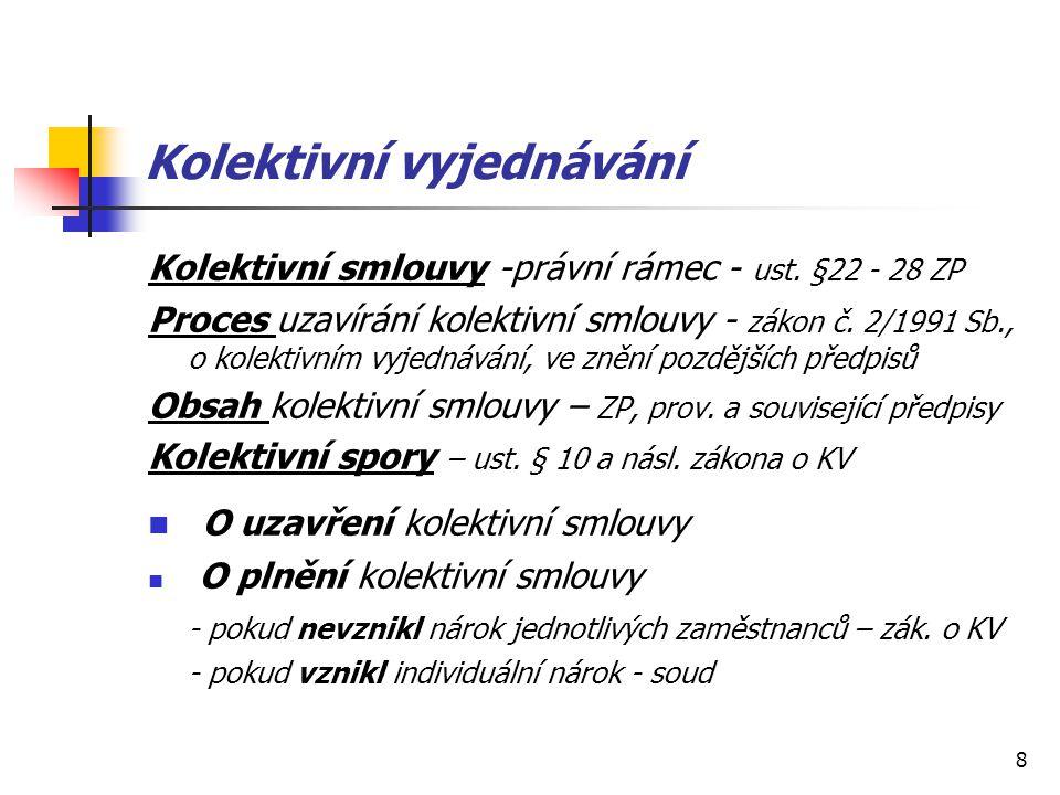 8 Kolektivní vyjednávání Kolektivní smlouvy -právní rámec - ust.