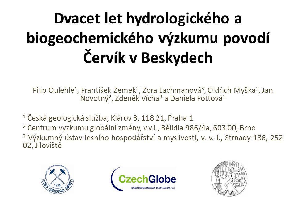 20 let výzkumu malých lesních povodí GEOMON Hlavní cíle monitorovací sítě: - studium biogeochemických cyklů prvků/živin zejména v přirozeně kyselých ekosystémech -vyhodnocení účinků snížené kyselé atmosférické depozice na fungování ekosystémů - studium nebezpečí dlouhodobé eutrofizace (akumulace N z depozice) na fungování ekosystémů -v poslední době - využití desetiletí měření chemického složení srážek, odtoku, půd v kontextu klimatických změn