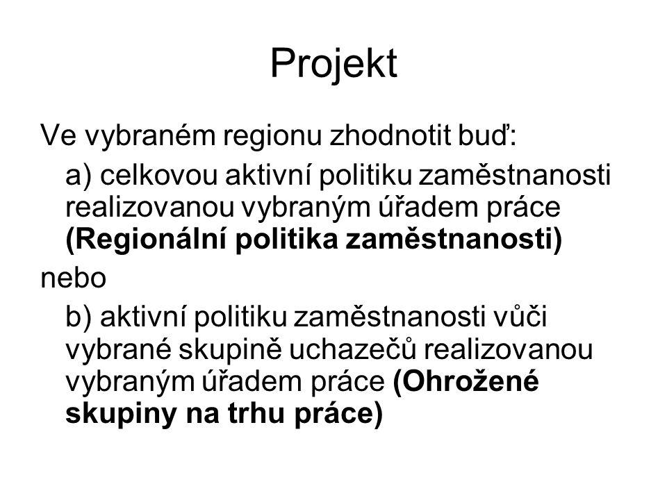 Projekt Ve vybraném regionu zhodnotit buď: a) celkovou aktivní politiku zaměstnanosti realizovanou vybraným úřadem práce (Regionální politika zaměstnanosti) nebo b) aktivní politiku zaměstnanosti vůči vybrané skupině uchazečů realizovanou vybraným úřadem práce (Ohrožené skupiny na trhu práce)