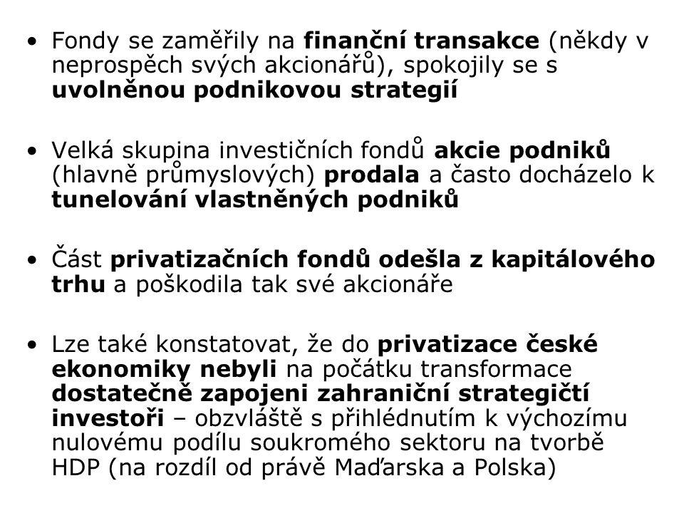 Fondy se zaměřily na finanční transakce (někdy v neprospěch svých akcionářů), spokojily se s uvolněnou podnikovou strategií Velká skupina investičních