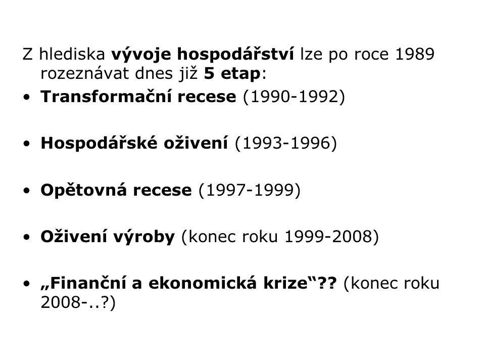 Z hlediska vývoje hospodářství lze po roce 1989 rozeznávat dnes již 5 etap: Transformační recese (1990-1992) Hospodářské oživení (1993-1996) Opětovná