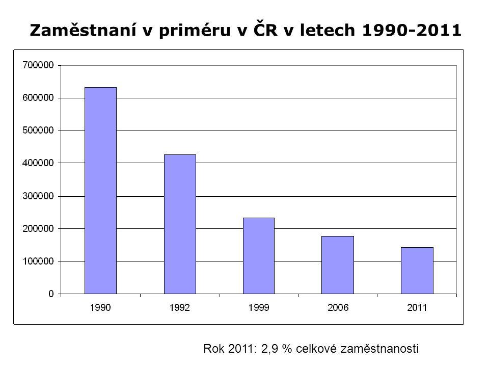 Zaměstnaní v priméru v ČR v letech 1990-2011 Rok 2011: 2,9 % celkové zaměstnanosti