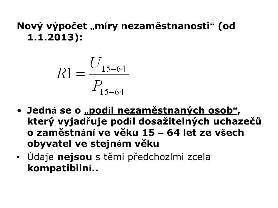 """Nový výpočet """" m í ry nezaměstnanosti """" (od 1.1.2013): Jedn á se o """" pod í l nezaměstnaných osob """", který vyjadřuje pod í l dosažitelných uchazečů o z"""