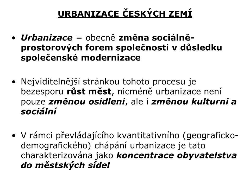 URBANIZACE ČESKÝCH ZEMÍ Urbanizace = obecně změna sociálně- prostorových forem společnosti v důsledku společenské modernizace Nejviditelnější stránkou
