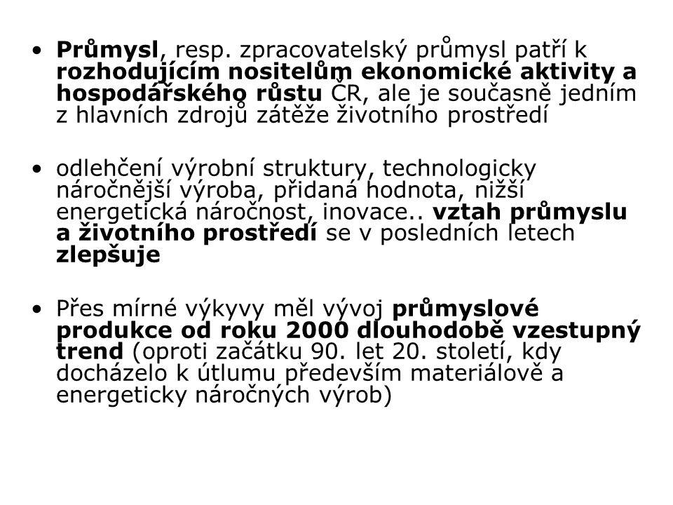 Průmysl, resp. zpracovatelský průmysl patří k rozhodujícím nositelům ekonomické aktivity a hospodářského růstu ČR, ale je současně jedním z hlavních z