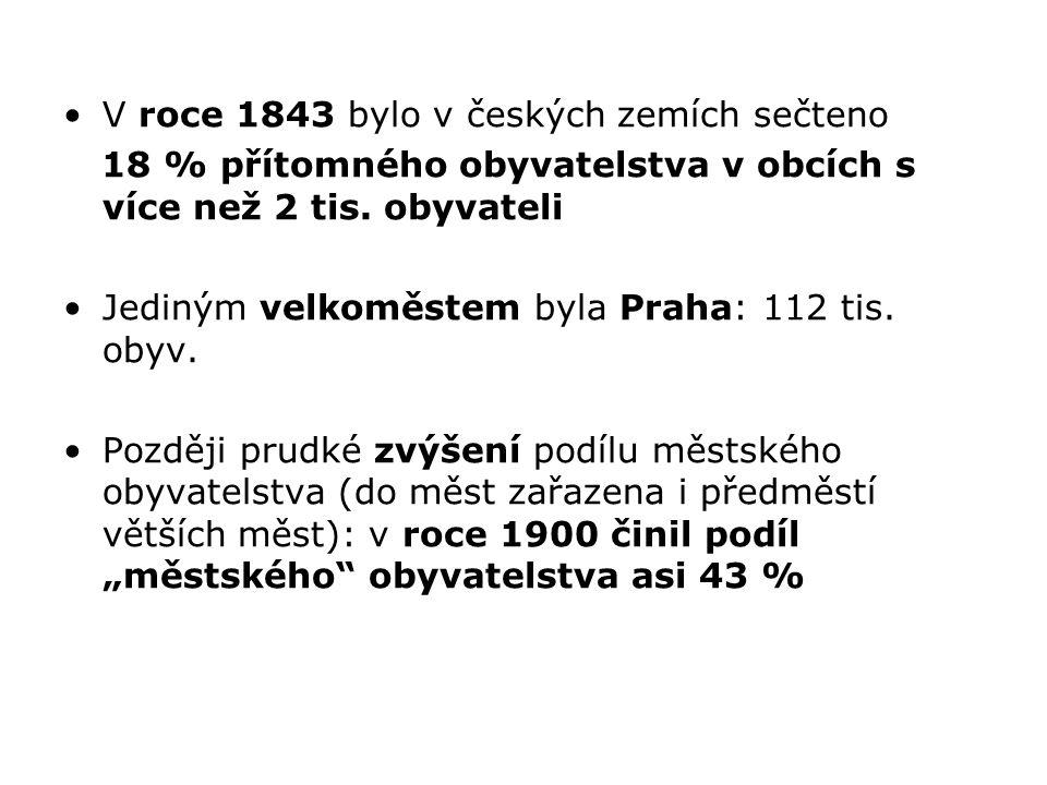 V roce 1843 bylo v českých zemích sečteno 18 % přítomného obyvatelstva v obcích s více než 2 tis. obyvateli Jediným velkoměstem byla Praha: 112 tis. o