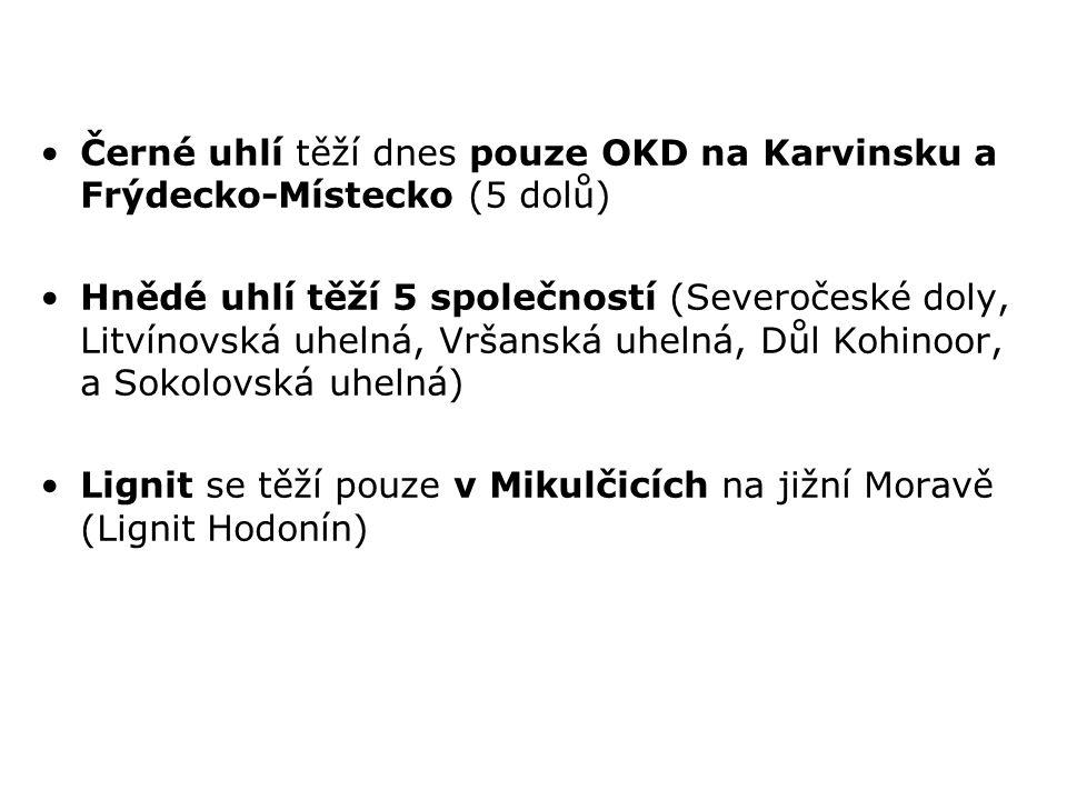 Černé uhlí těží dnes pouze OKD na Karvinsku a Frýdecko-Místecko (5 dolů) Hnědé uhlí těží 5 společností (Severočeské doly, Litvínovská uhelná, Vršanská