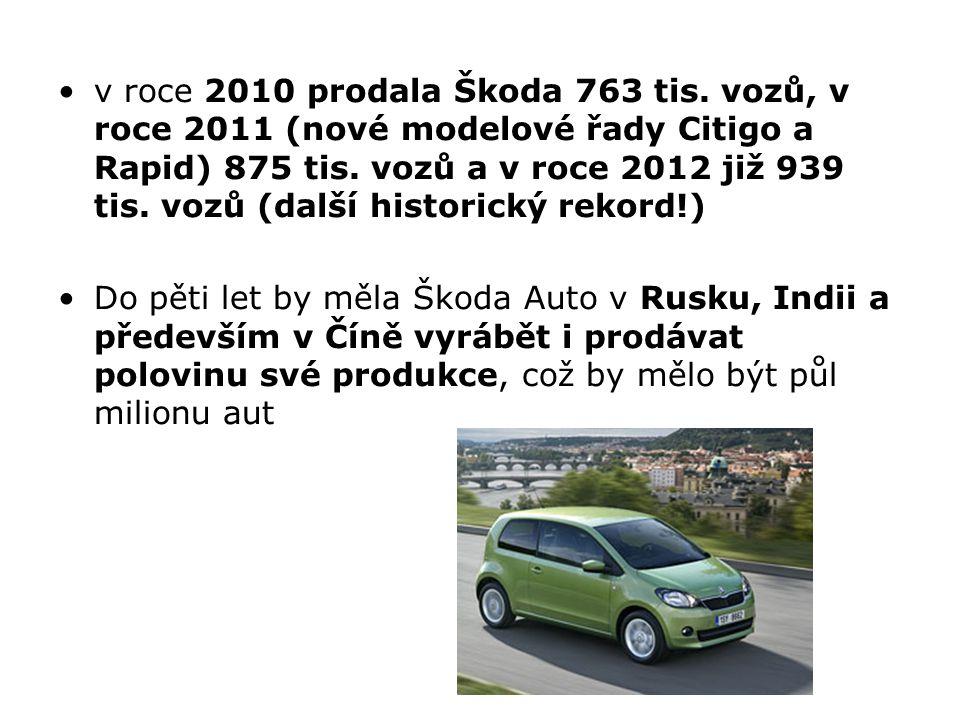 v roce 2010 prodala Škoda 763 tis. vozů, v roce 2011 (nové modelové řady Citigo a Rapid) 875 tis. vozů a v roce 2012 již 939 tis. vozů (další historic