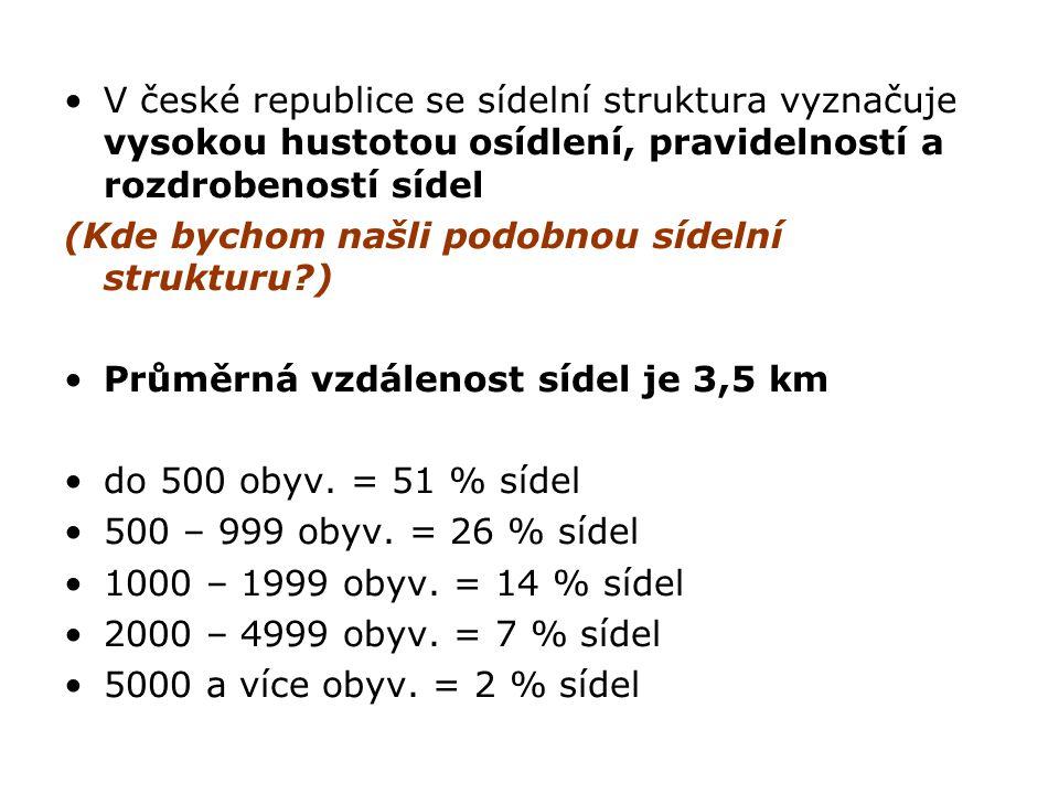 V české republice se sídelní struktura vyznačuje vysokou hustotou osídlení, pravidelností a rozdrobeností sídel (Kde bychom našli podobnou sídelní str