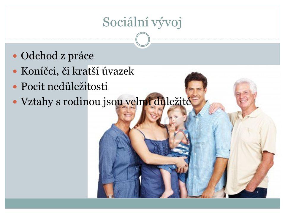 Sociální vývoj Odchod z práce Koníčci, či kratší úvazek Pocit nedůležitosti Vztahy s rodinou jsou velmi důležité