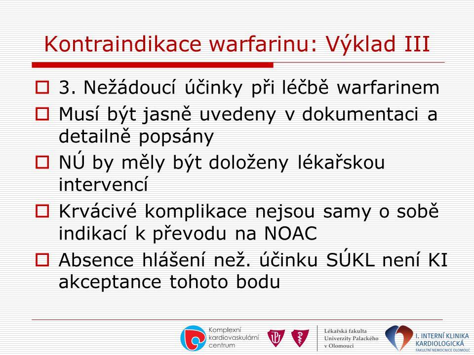 Kontraindikace warfarinu: Výklad III  3. Nežádoucí účinky při léčbě warfarinem  Musí být jasně uvedeny v dokumentaci a detailně popsány  NÚ by měly