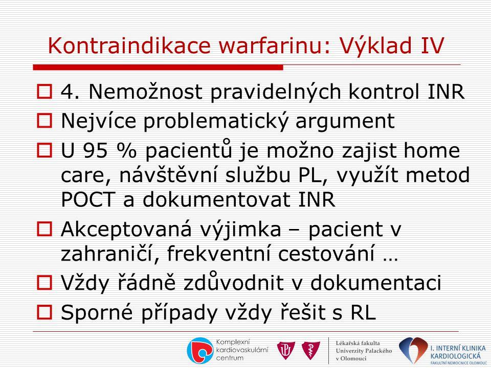 Kontraindikace warfarinu: Výklad IV  4. Nemožnost pravidelných kontrol INR  Nejvíce problematický argument  U 95 % pacientů je možno zajist home ca