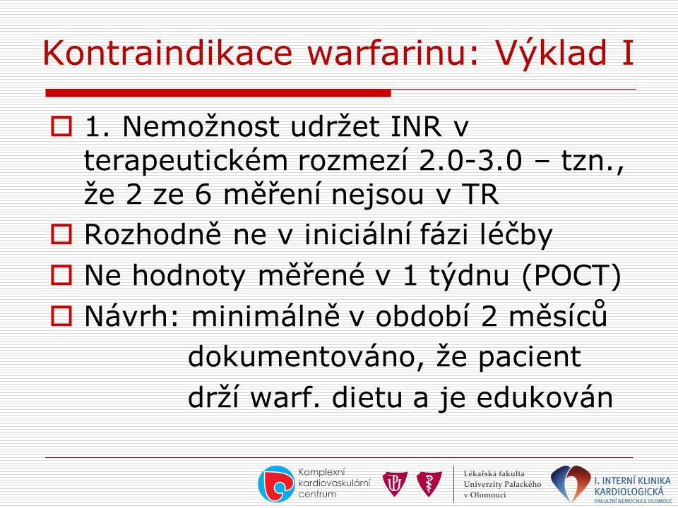 Kontraindikace warfarinu: Výklad I  1. Nemožnost udržet INR v terapeutickém rozmezí 2.0-3.0 – tzn., že 2 ze 6 měření nejsou v TR  Rozhodně ne v inic