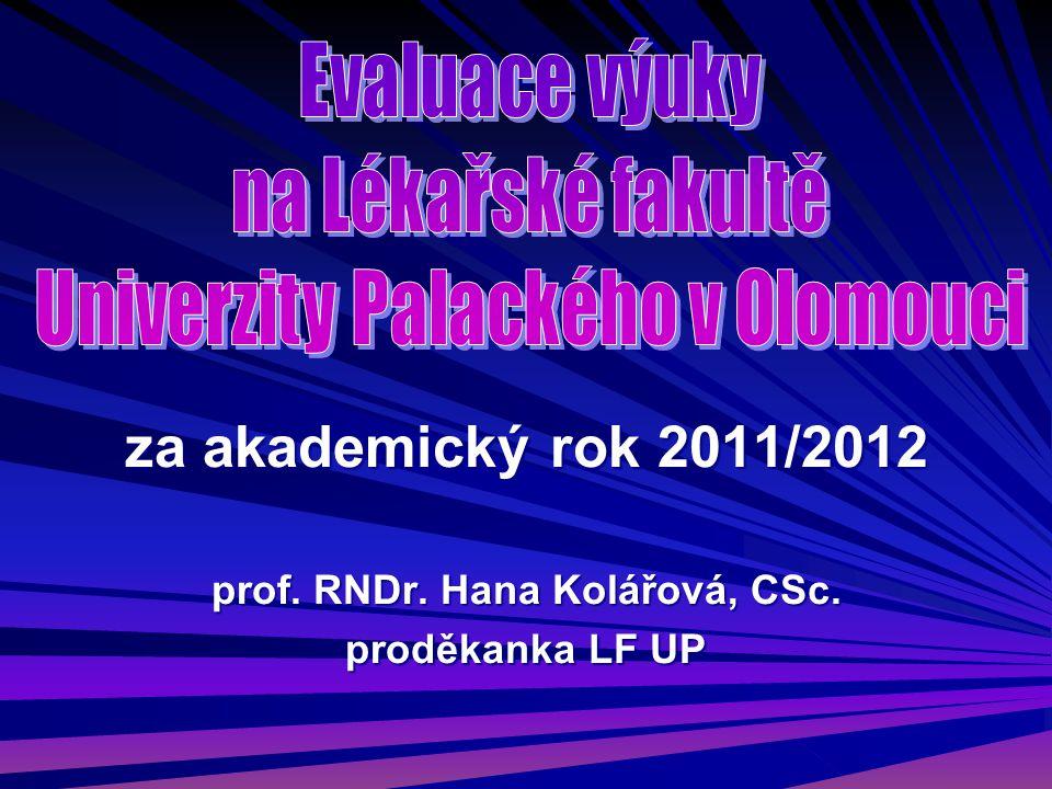 za akademický rok 2011/2012 prof. RNDr. Hana Kolářová, CSc. proděkanka LF UP