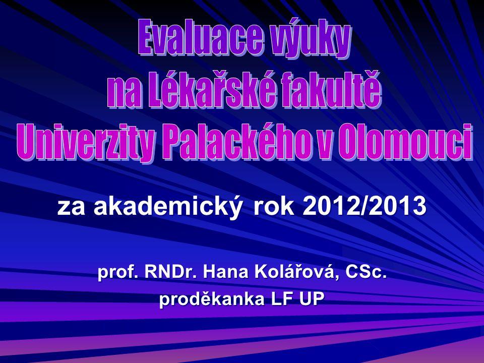 za akademický rok 2012/2013 prof. RNDr. Hana Kolářová, CSc. proděkanka LF UP