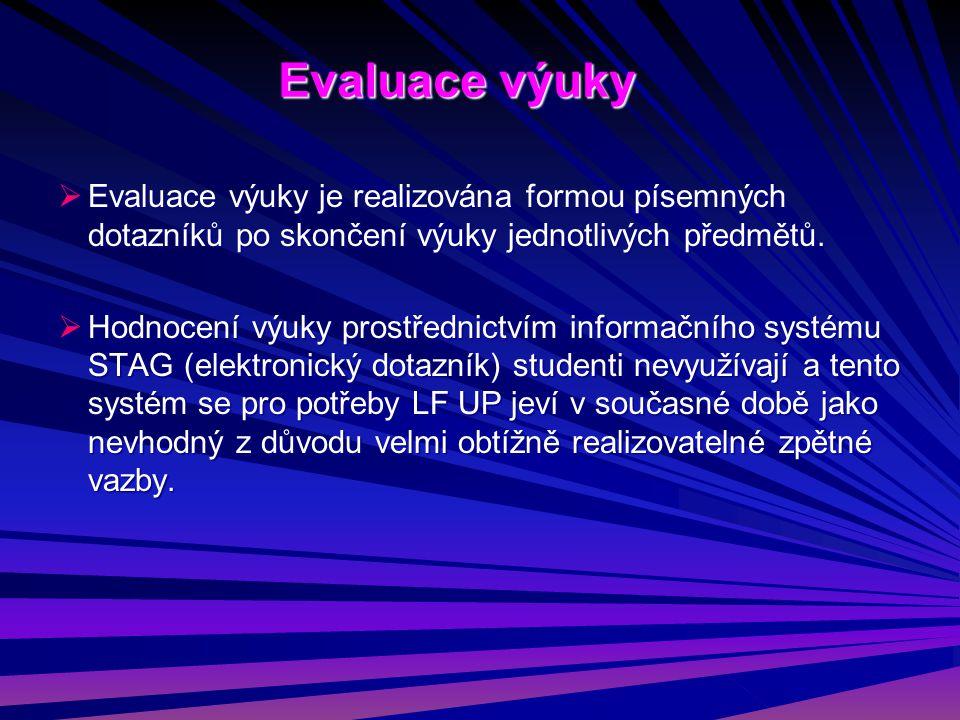  Evaluace výuky je realizována formou písemných dotazníků po skončení výuky jednotlivých předmětů.