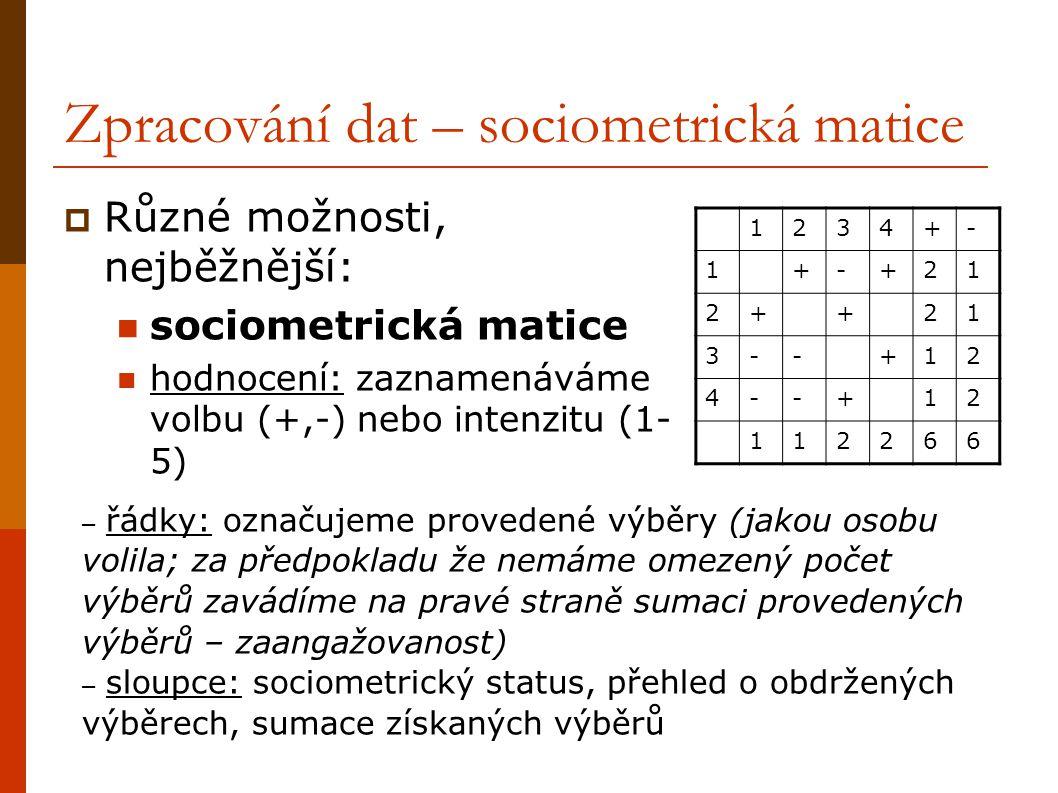 Zpracování dat – sociometrická matice  Různé možnosti, nejběžnější: sociometrická matice hodnocení: zaznamenáváme volbu (+,-) nebo intenzitu (1- 5) 1