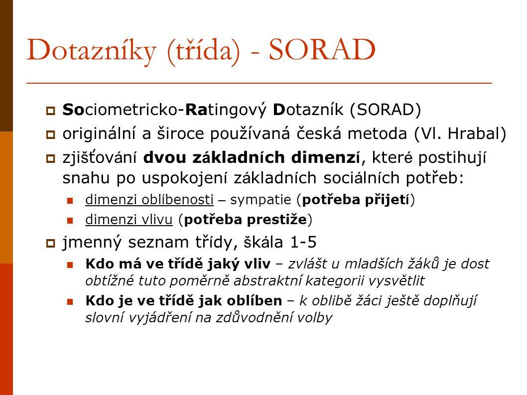 Dotazníky (třída) - SORAD  Sociometricko-Ratingový Dotazník (SORAD)  originální a široce používaná česká metoda (Vl. Hrabal)  zji š ťov á n í dvou