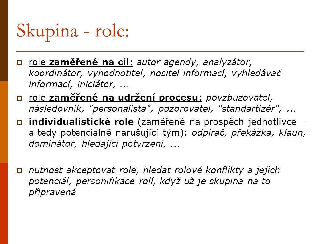 Skupina - role:  role zaměřené na cíl: autor agendy, analyzátor, koordinátor, vyhodnotitel, nositel informací, vyhledávač informací, iniciátor,... 